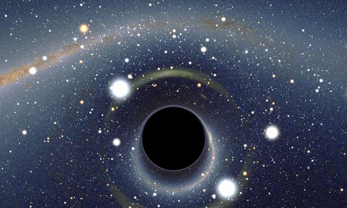 A simulated view of a black hole. (Wikimedia/Alain r, CC BY-SA 2.5)