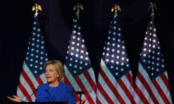 Democratic Presidential candidate Hillary Clinton speaks at the Democratic National Committee summer meeting on August 28, 2015 in Minneapolis, Minnesota. Most of the Democratic Presidential candidates including Clinton, Bernie Sanders , Martin O'Malley and Lincoln Chafee are attending at the event. (Adam Bettcher/Getty Images)