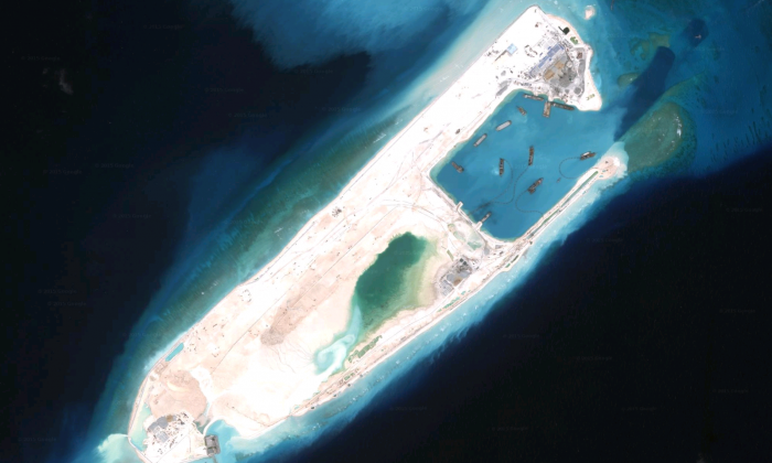This September 2015 image shows the emergence of a large island at Fiery Cross Reef in the South China Sea's Spratly Islands. (Screenshot via Google Maps)