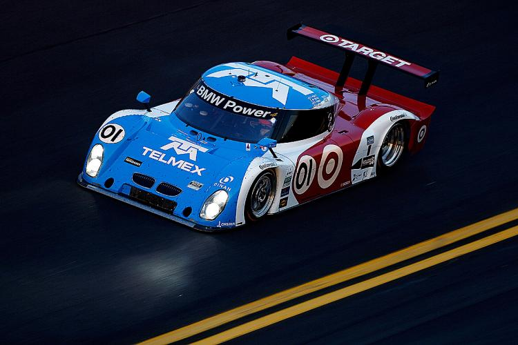 After eight hours and 245 laps of the Rolex 24, Joey Hand leads in the 01 Telmex-Ganassi Riley BMW. (Chris Graythen/Getty Images)