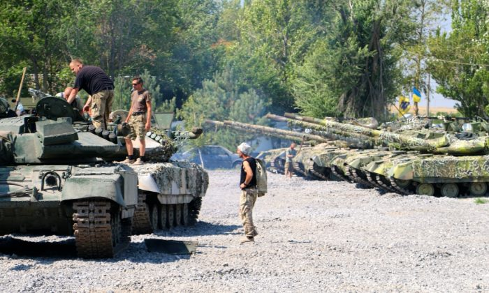The Azov Battalion operates about a dozen T-64 tanks at its base in Urzuf, outside Mariupol. (Nolan Peterson/The Daily Signal)