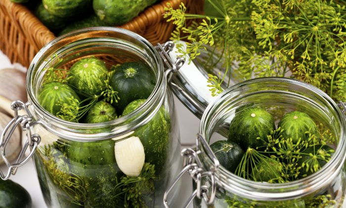 Homemade pickles in brine with garlic, dill and horseradish on woodboard