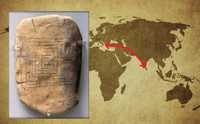 Left: A clay tablet from Pylos, Greece, inscribed with a labyrinth diagram, dating back to at least 1200 B.C. (Marsyas/CC BY-SA) Right: A world map with an arrow pointing roughly from Pylos, Greece, to southern India, where a labyrinth similar to the one on the Pylos tablet was found. (Javarman3/iStock)