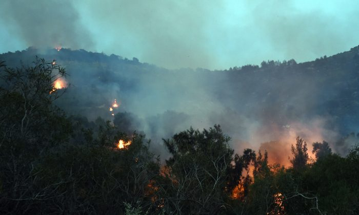 This photo shows a blaze spreading through the hills of the Mont Nahli Park, north of Tunis, after a fire broke out on June 5, 2014. (FETHI BELAID/AFP/Getty Images)