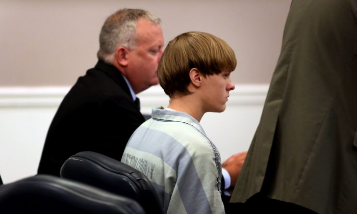 Dylan Roof (C), the suspect in the mass shooting that left nine dead in a Charleston church last month, appears in court July 18, 2015 in Charleston, South Carolina. (Grace Beahm-Pool/Getty Images)