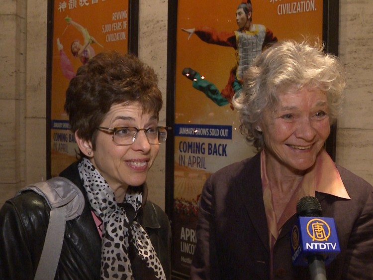 Margaret Emory, an editor at Brain World Magazine, with actress and musician, Helene Jean Arthur, attend Shen Yun