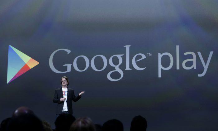 Chris Yerga, VP of Google Play Engineering, speaks at a Google event in 2013 in San Francisco. Google is planning to launch a version of its Google Play app store in China, which likely will require the company to censor certain apps. (AP Photo/Jeff Chiu)