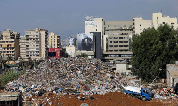 A view shows a temporary garbage dump on the site of the highway of Sadd al-Bawshriyeh at the northern entrance of the capital Beirut on Sept. 4, 2015. (Joseph Eid/AFP/Getty Images)