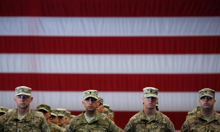 Soldiers from the U.S. Army's 3rd Brigade Combat Team during a homecoming ceremony in the Natcher Physical Fitness Center on Fort Knox in a file photo. (Luke Sharrett/Getty Images)