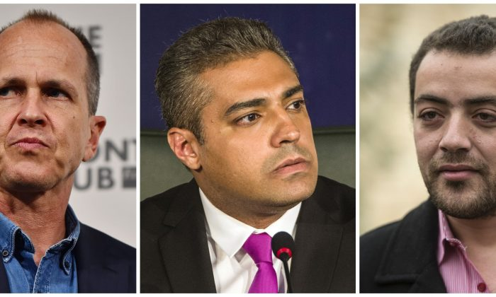 A combination of file pictures made on August 29, 2015 shows Al-Jazeera's Egyptian producer Baher Mohamed (R), Al-Jazeera's Egyptian-Canadian reporter Mohamed Fahmy (C) and Australian journalist Peter Greste. An Egyptian court sentenced Fahmy and Mohamed, along with Australian journalist Peter Greste who was tried in absentia after his deportation early this year, to three years in prison in a shock ruling following global demands for their acquittal. AFP PHOTO / BEN STANSALL / KHALED DESOUKI        (Photo credit should read KHALED DESOUKI,BEN STANSALL/AFP/Getty Images)