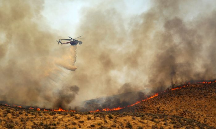 This Aug. 9, 2015 photo taken by Utah state firefighter Eli Peterson shows a fast burning fire in Owyhee County, Idaho. (Eli Peterson via AP)