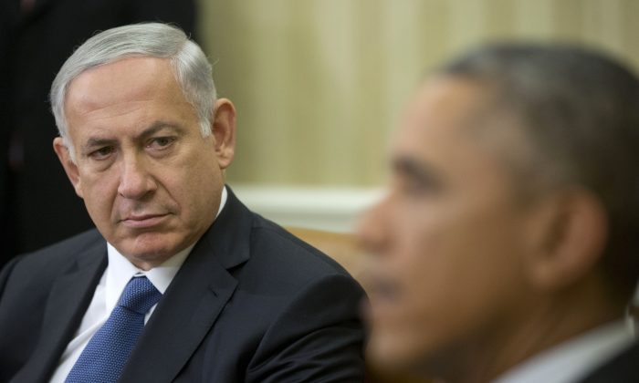 Israeli Prime Minister Benjamin Netanyahu and President Barack Obama at a meeting in the Oval Office of the White House in Washington, D.C., on Oct. 1, 2014. (AP Photo/Pablo Martinez Monsivais)