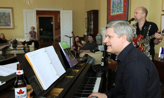 Prime Minister Stephen Harper plays the piano with a band at his official residence in Ottawa on April 22, 2011. John Ibbitson's biography of the PM was released this week. (The Canadian Press/Fred Chartrand)