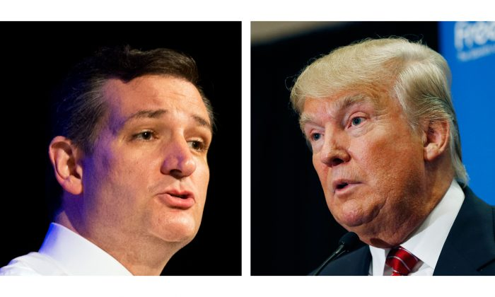 This two picture combo of file photos shows Republican presidential candidates, Sen. Ted Cruz, R-Texas, left, and Donald Trump.  (AP Photo)