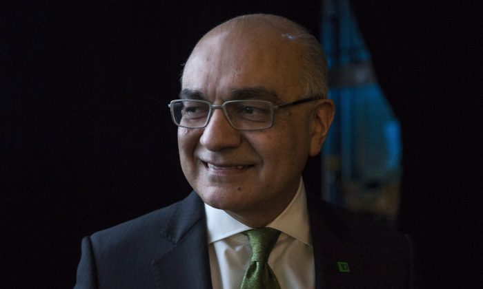 File photo of Bharat Masrani, president and CEO of TD Bank, at TD's annual meeting in Toronto on  March 26, 2015. (The Canadian Press/Chris Young)