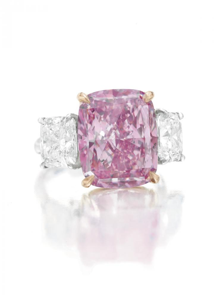 The 10-carat pink-purple diamond worth an estimated $15 million that went unsold at a Christie's auction on Tuesday. (Courtesy of Christie's)