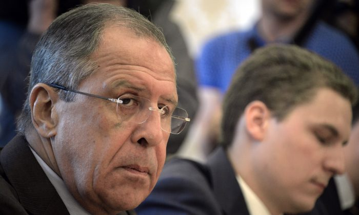 Russia's Foreign Minister Sergei Lavrov looks on as he meets with representatives of the Syrian opposition in Moscow on Aug. 31, 2015. (Alexander Nemenov/AFP/Getty Images)