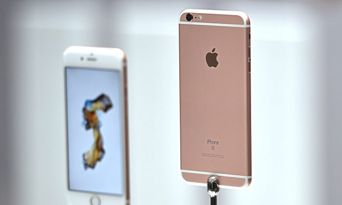 New models of the iPhone 6s are seen displayed during an Apple media event in San Francisco, California on September 9, 2015. (Josh Edelson/AFP/Getty Images)