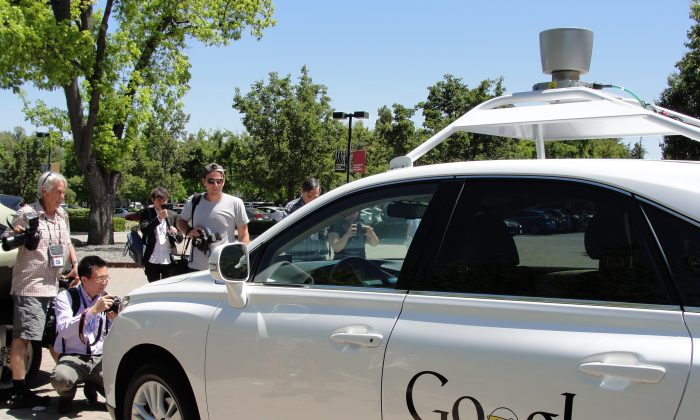 A Google self-driving car is seen in Mountain View, California, on May 13, 2014. (Glenn  Chapman/AFP/Getty Images)