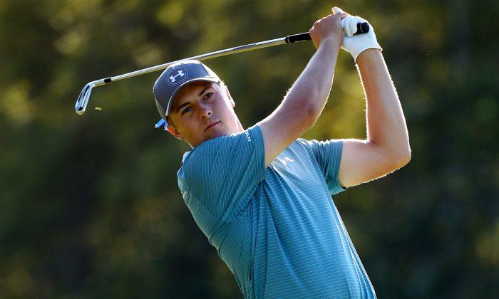 Jordan Spieth watches his second shot on the 13th hole during round two of the Deutsche Bank Championship at TPC Boston on September 5, in Norton, Massachuetts. (Ross Kinnaird/Getty Images)