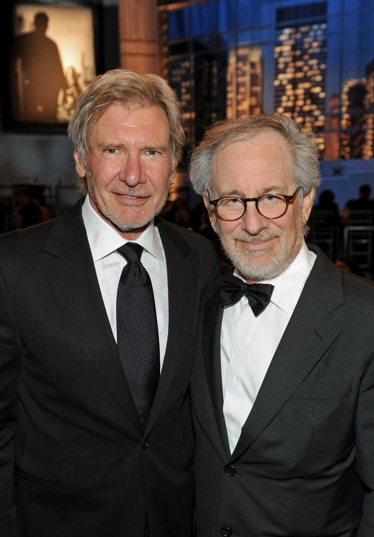 Harrison Ford (L) and Steven Spielberg attend the 38th AFI Life Achievement Award honoring Mike Nichols at Sony Pictures Studios on June 10 in Culver City, California. (Frazer Harrison/Getty Images for AFI)