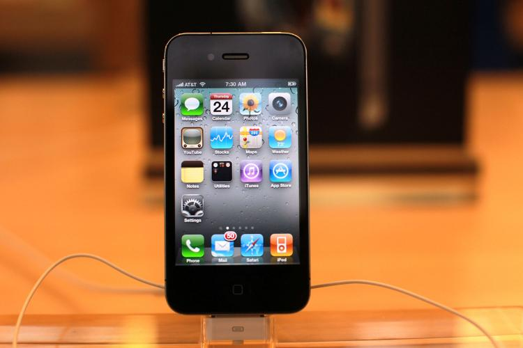 The new Apple iPhone 4, displayed at the flagship Apple Store on Fifth Avenue on June 24, 2010 in New York City. (Spencer Platt/Getty Images)