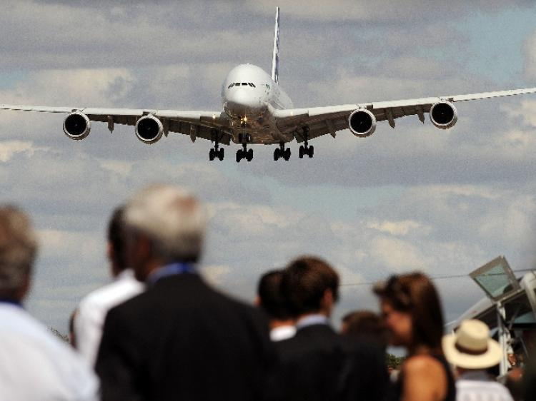 FAULTY ENGINES? An Airbus A380 lands following an air display at the Farnborough International Airshow in Hampshire, England, this summer. (Ben Stansall/AFP/Getty Images )