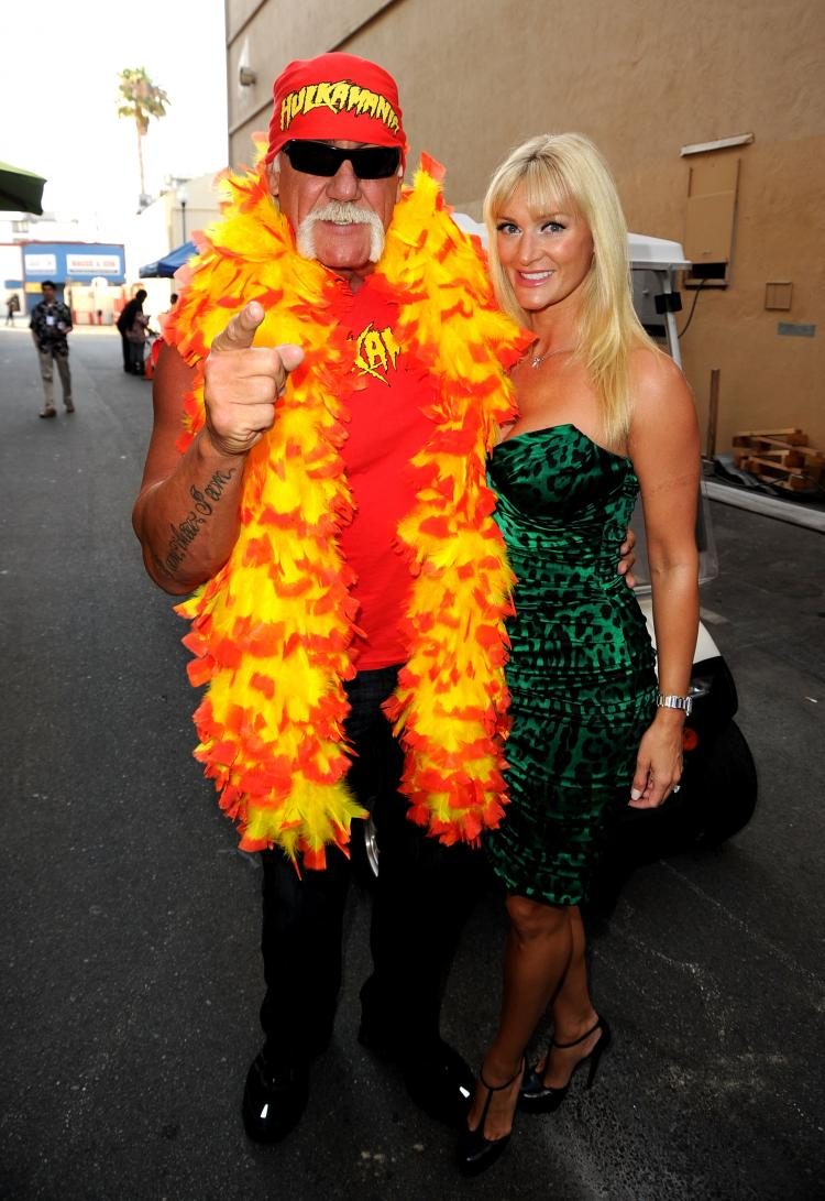Jennifer McDaniel (R) and wrestler Hulk Hogan arrive at the Comedy Central Roast Of David Hasselhoff held at Sony Pictures Studios on Aug. 1 in Culver City, California. (Kevin Winter/Getty Images)