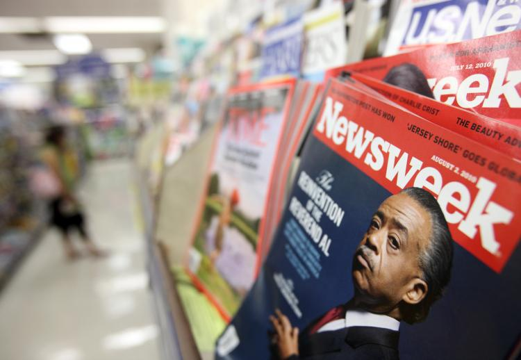 The August 2 issue of Newsweek magazine is shown on a newsstand on August 2, 2010 in Chicago, Illinois.  (John Gress/Getty Images)