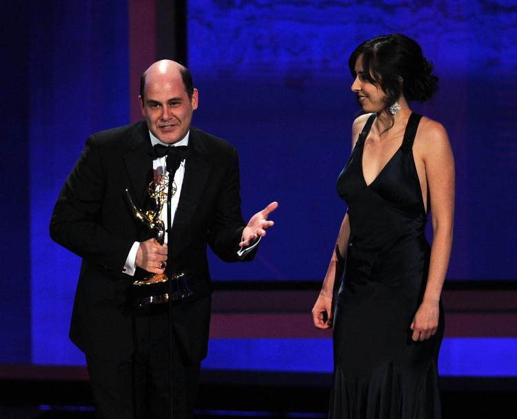 Writers Matthew Weiner (L) and Erin Levy accept the Outstanding Writing for a Drama Series award onstage at the 62nd Annual Primetime Emmy Awards on Aug. 29, 2010 in Los Angeles, California. (Kevin Winter/Getty Images)