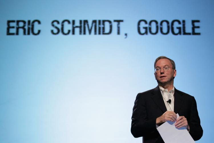 WELL-PAID: Google CEO Eric Schmidt speaks during the TechCrunch Disrupt Conference on Sept. 28, 2010 in San Francisco. Schmidt, who will step down from the post of CEO in April, will receive roughly $100 million in vesting stocks and options, the company said Monday.   (Justin Sullivan/Getty Images)