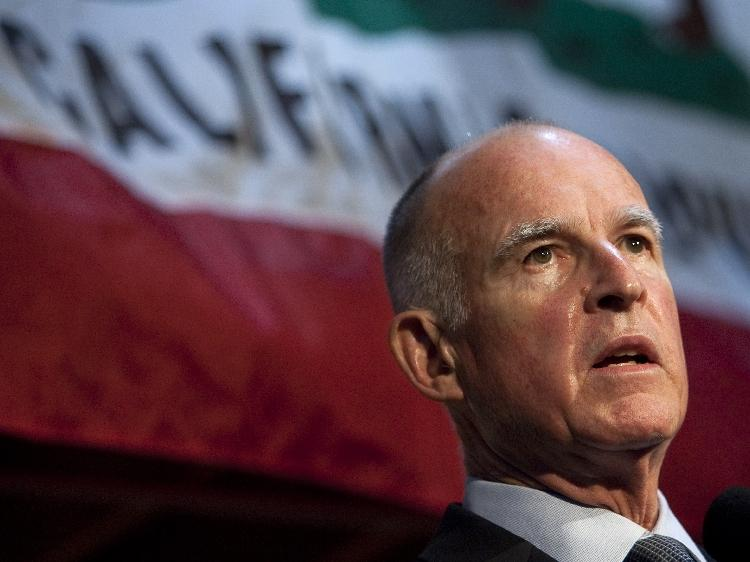 California Governor Jerry Brown, (pictured here during his campaign for office in Nov. 2010) released a budget plan which State Treasurer Bill Lockyer calls realistic and provocative. (David Paul Morris/Getty Images)