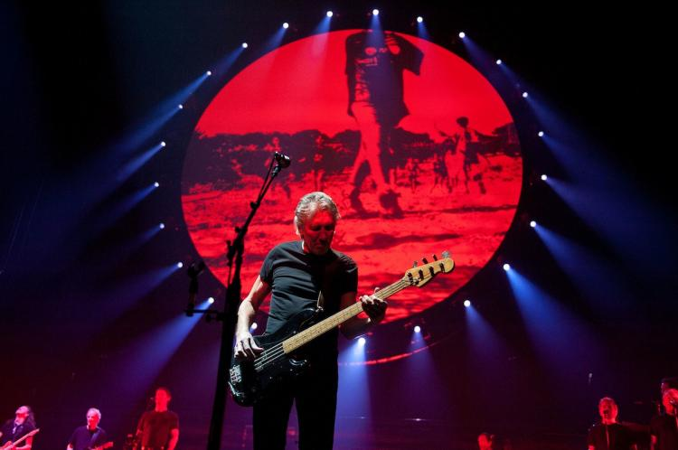 Roger Waters, who left Pink Floyd in the mid-eighties, performs 'The Wall' in its entirety at the Wells Fargo Center November 8, 2010 in Philadelphia, Pennsylvania. Pink Floyd has signed a new five-year contract with EMI Music, ending a legal dispute with the company over digital download sales. (Jeff Fusco/Getty Images)