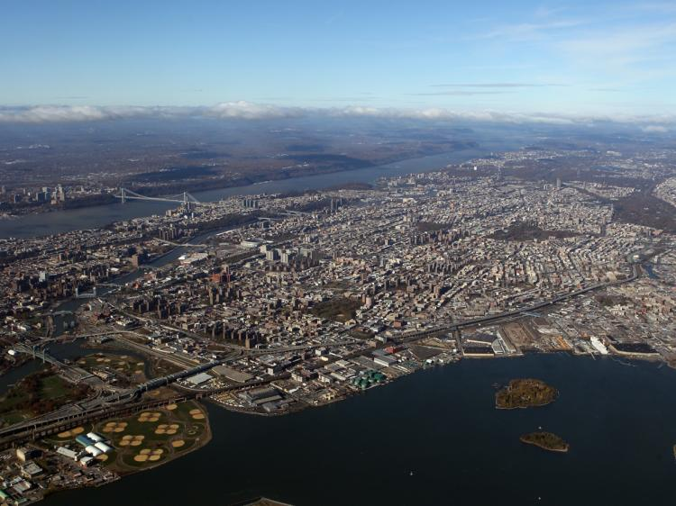 An aerial view of the Bronx and the George Washington Bridge photographed on Nov. 9. (Bruce Bennett/Getty Images )