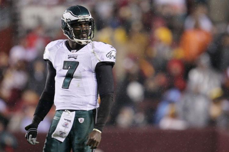 Michael Vick #7 of the Philadelphia Eagles waits for instructions against the Washington Redskins on Nov. 15, at FedExField in Landover, Maryland.  (Chris McGrath/Getty Images)