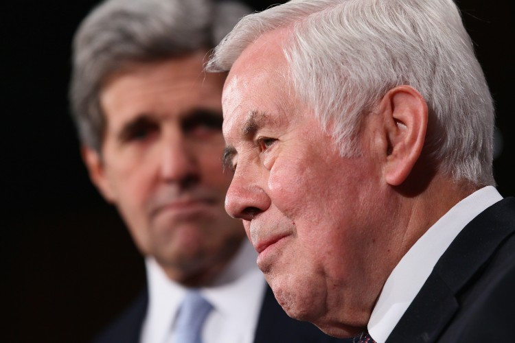Sen. Richard Lugar (R-IN) (R) at press conference with Sen. John Kerry (D-MA) (L) in 2010. Lugar, recently lost the republican primary to tea party backed candidate Richard Mourdock. (Win McNamee/Getty Images)