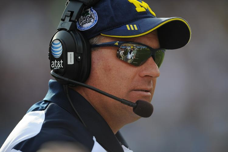 Rich Rodriguez, formerly of the University of Michigan Wolverines, during the Gator Bowl at EverBank Field on January 1, 2011 in Jacksonville, Florida. (Rick Dole/Getty Images)