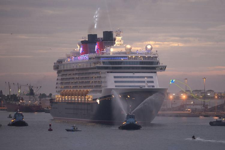 Disney Dream arrives Jan. 4, 2011 for the first time to her home port of Port Canaveral, Florida after traveling across the Atlantic Ocean from Germany. (David Roark/Disney via Getty Images)