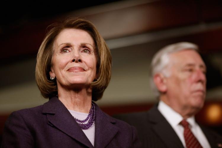 Outgoing Speaker of the House Nancy Pelosi (D-Calif.) (L) holds a news conference with with Majority Leader Steny Hoyer (D-Md.) in the U.S. Capitol Visitors Center January 4, 2011 in Washington, D.C. (Chip Somodevilla/Getty Images)