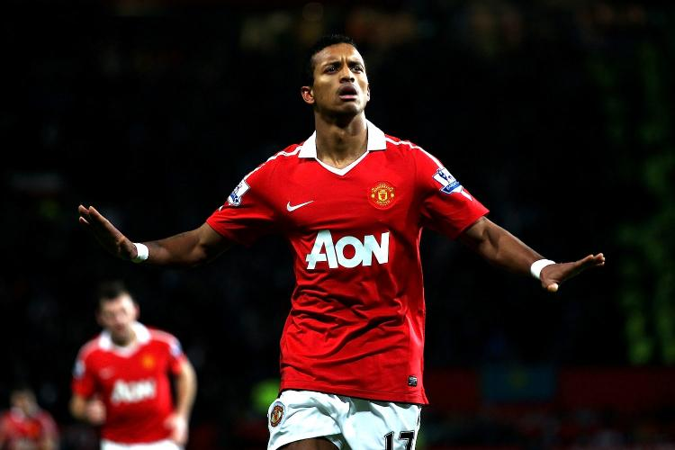 Manchester United's Nani settles the issue at Old Trafford on Tuesday against Stoke City.  (Clive Brunskill/Getty Images)