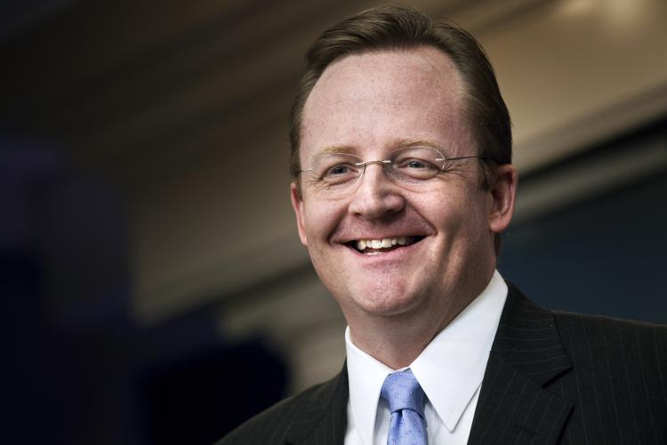 Robert Gibbs, White House press secretary, smiles during a daily press briefing at the White House Jan. 5 in Washington. Gibbs announced that he would step down from his position at the White House in February to work on the upcoming 2012 campaigns. (Brendan Smialowski/Getty Images)