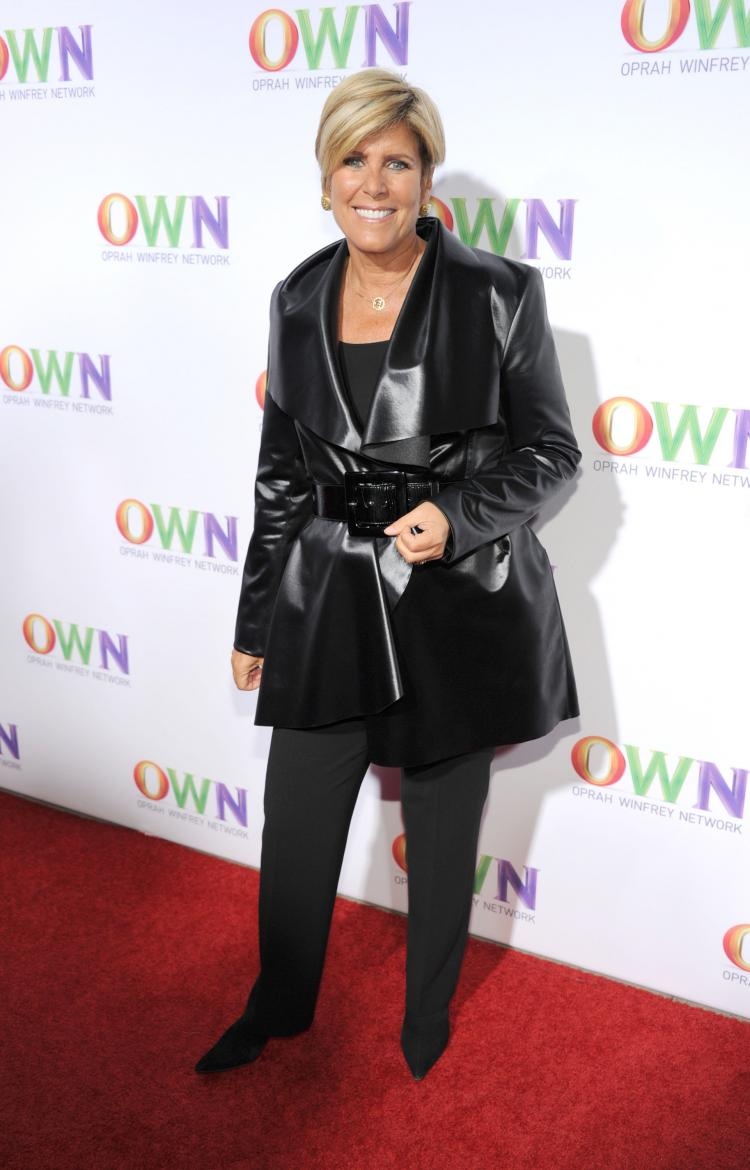 Suze Orman arrives at OWN: Oprah Winfrey Network's 2011 TCA Winter Press Tour Cocktail Party at the Horseshoe Gardens at the Langham Hotel on Jan. 6, 2011 in Pasadena, Calif. (Todd Williamson/WireImage)