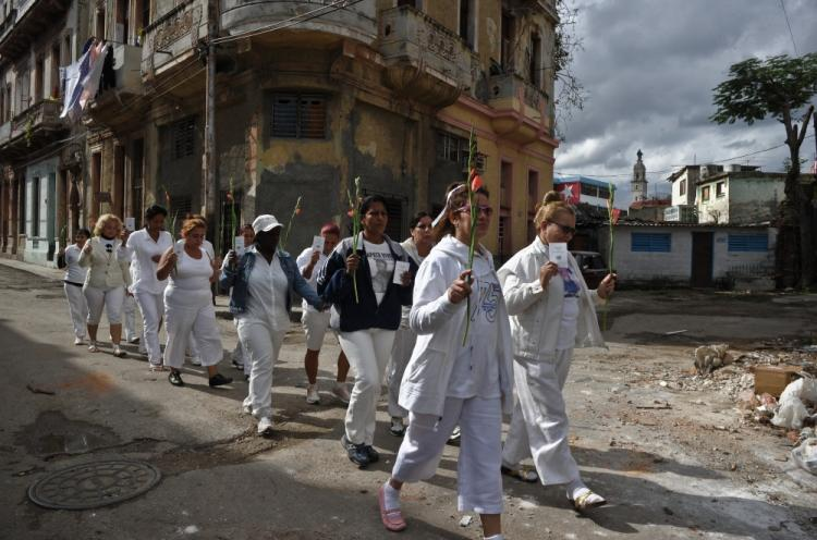 Members of the Ladies in White group march during the Human Rights Day in Havana on December 10, 2010.  (Adalberto Roque/AFP/Getty Images)