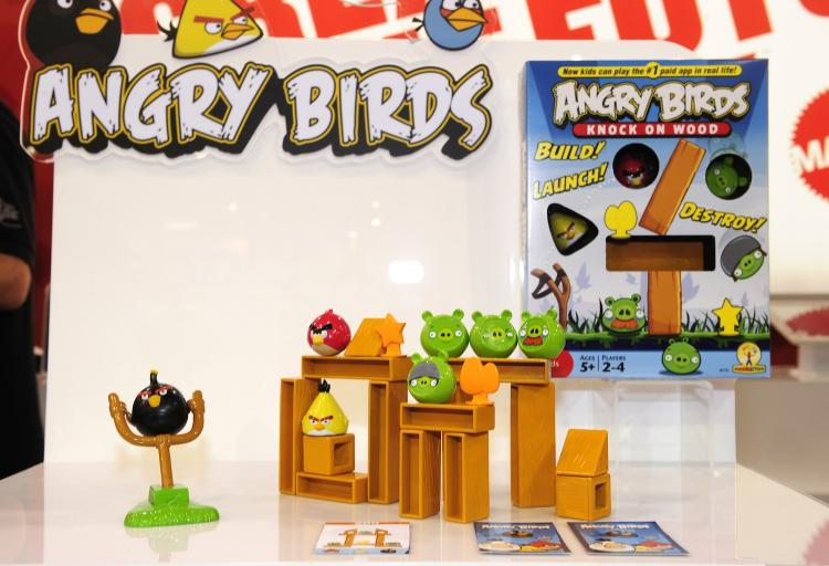 Angry Birds board game by Mattel, is on display at the 2011 International Consumer Electronics Show January 8, 2011 in Las Vegas. Angry Birds, the hugely successful mobile phone game, could likely be an animated series in the future.   (Robyn Beck/Getty Images)