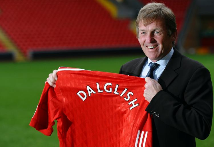 KING KENNY: Kenny Dalglish, Liverpool Football Club's new manager, poses for photographers during a photocall at Anfield in Liverpool, north-west England, on January 10.   (Paul Ellis/Getty Images )