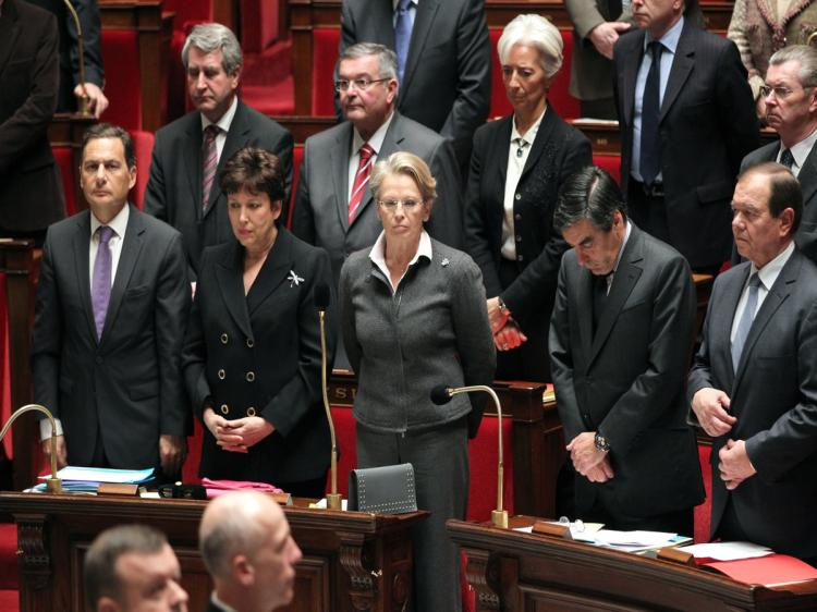 MPs and members of the government observe a minute of silence during the weekly session of questions to government on Jan. 11 at the National Assembly in Paris in remembrance of the two French hostages killed in Niger on Jan. 8. (Pierre Verdy/AFP/Getty Images)