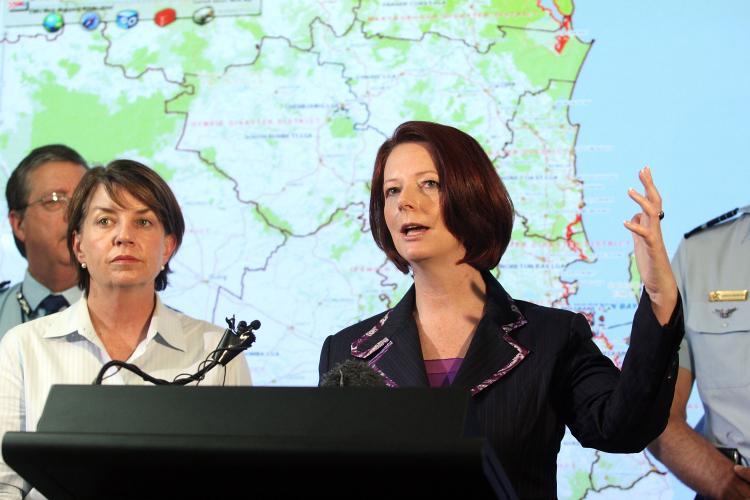 Queensland floods: Prime Minister Julia Gillard (R) and Queensland Premier Anna Bligh (L) at a media conference on Jan. 12, 2011 in Brisbane, Australia. (Bradley Kanaris/Getty Images)
