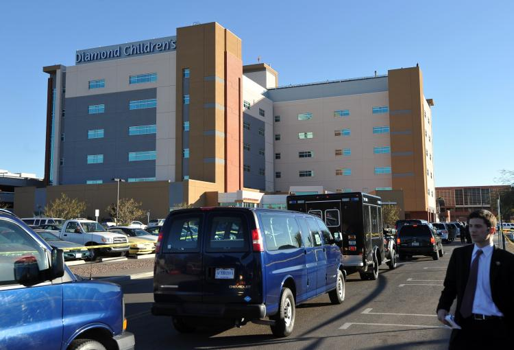 US President Barack Obama and First Lady Michelle Obama's motorcade arrived at the University Medical Center to visit congresswoman Gabrielle Giffords in Tucson, Arizona, on January 12, 2011. (Jewel Samad/AFP/Getty Images)