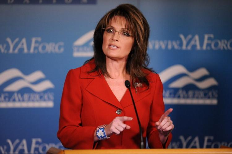 Former Alaska governor Sarah Palin speaks at a dinner celebrating former US president Ronald Reagan on the centennial of his birth, at the Reagan Ranch Center in Santa Barbara, California February 4, 2011. (Robyn Beck/AFP/Getty Images)