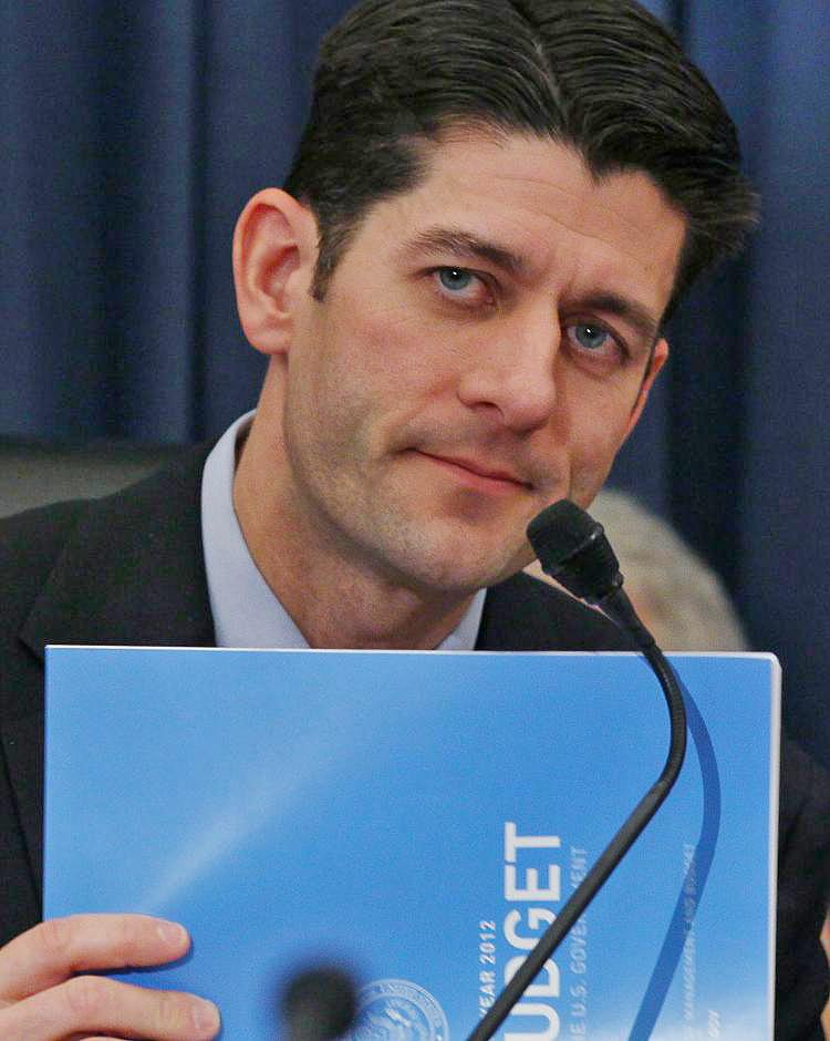 Chairman Paul Ryan (R-WI) holds a copy of the new 2012 budget proposal during House Budget Committee hearing on February 15, in Washington, DC. (Mark Wilson/Getty Images)